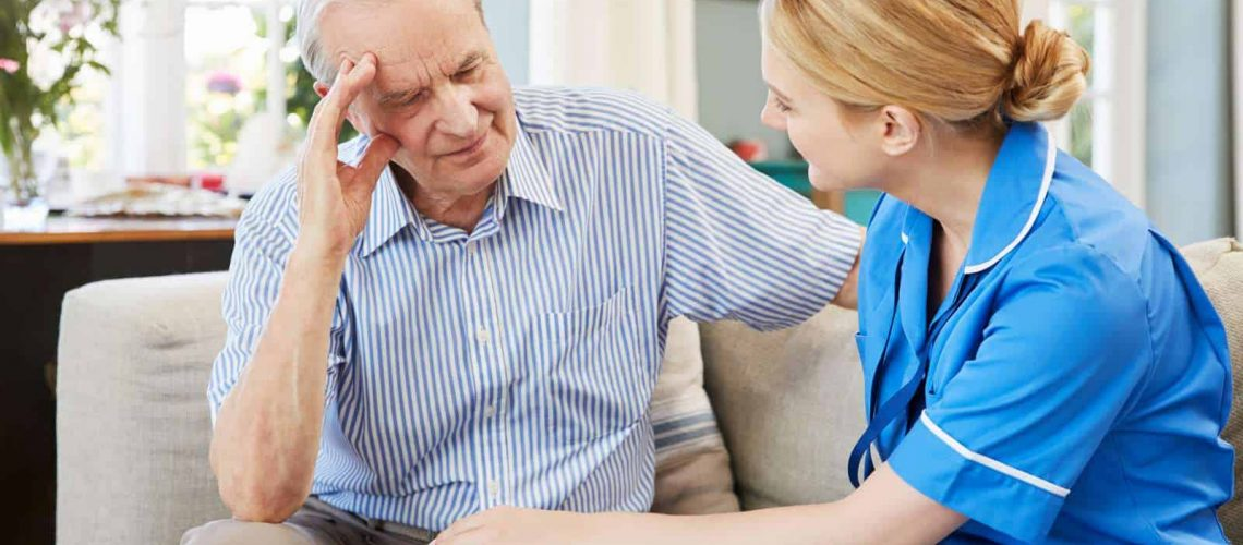 counseling for depression - nurse counseling an old man